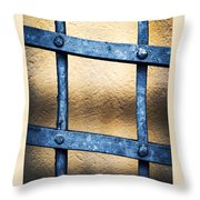 Black Forged Iron Grating With Rivets Throw Pillow