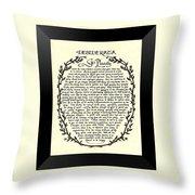 Black Border Desiderata Poster Throw Pillow