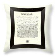Black Border Sunburst Desiderata Poem Throw Pillow