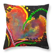 Abstract Multi Colored Heart Throw Pillow