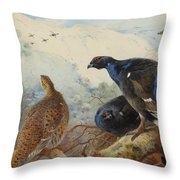 Black Grouse And Gamebirds By Thorburn Throw Pillow