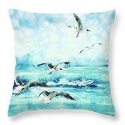 Black-headed Seagulls At Seven Seas Beach  Throw Pillow