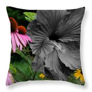 Black Hibiscus Throw Pillow