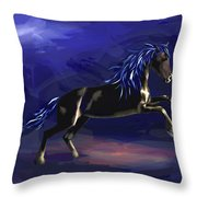 Black Horse At Night Throw Pillow