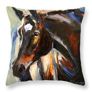 Black Horse Oil Painting Throw Pillow