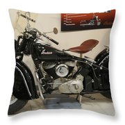 Black Indian Motorcycle Throw Pillow