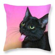 Black Kitten Says Yuck Throw Pillow
