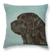 Black Labrador Dog Profile Painting Throw Pillow