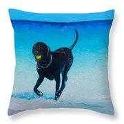 Black Labrador Painting Throw Pillow