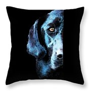 Black Labrador Retriever Dog Art - Hunter Throw Pillow by Sharon Cummings