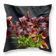 Black Lilies Throw Pillow