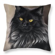 Black Maine Coon Throw Pillow