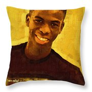 Young Black Male Teen 2 Throw Pillow
