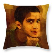 Young Black Male Teen 3 Throw Pillow