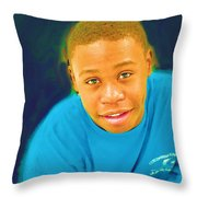 Young Black Male Teen 5 Throw Pillow