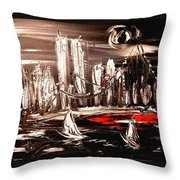 Black Manhattan Throw Pillow