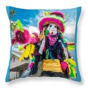 Black Mardi Gras Indian Throw Pillow