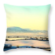 Black Mountains And Vale Of Usk Throw Pillow