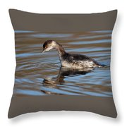 Black-necked Grebe About To Dive Throw Pillow