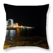 Black Night Bright Lights - Sliema Famous Waterfront Throw Pillow