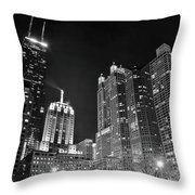 Black Night In The Windy City Throw Pillow