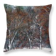 Black Oaks In Snowstorm Yosemite National Park Throw Pillow
