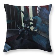 Black Orchid And Horse Throw Pillow