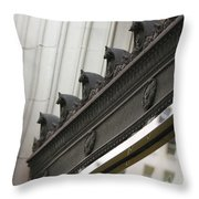 Black Ornate Trim On Marble White Building Throw Pillow