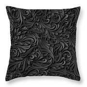 Black Paper Floral Seamless Pattern Throw Pillow