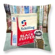 Black Pepper Throw Pillow