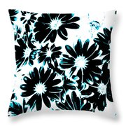 Black Petals With Sprinkles Of Teal Turquoise Throw Pillow