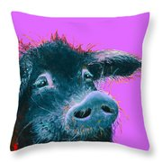 Black Pig Painting On Purple Throw Pillow