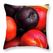 Black Plums And Nectarines In A Wooden Bowl Throw Pillow