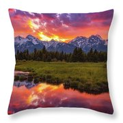 Black Ponds Sunset Throw Pillow
