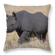 Black Rhino On The Masai Mara Throw Pillow