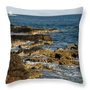 Black Rock Point And Sailboat Throw Pillow