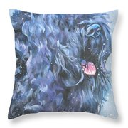 Black Russian Terrier In Snow Throw Pillow