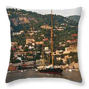 Black Sailboat At Villefranche II Throw Pillow