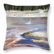 Black Sand Basin Geysers In Yellowstone National Park Throw Pillow