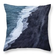 Black Sand Beach, Iceland Throw Pillow