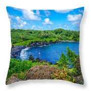 Black Sand Beach - Maui Hi Throw Pillow