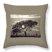 Black Silhouette Tree Throw Pillow