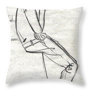 Black Sketch A Man With A Mobile Seen From His Right Throw Pillow