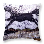 Black Stallion Gallops Over Stones Throw Pillow