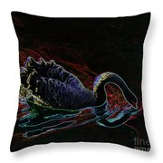 Black Swan In Color Throw Pillow