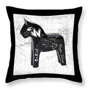 Black Swedish Dala Horse Throw Pillow
