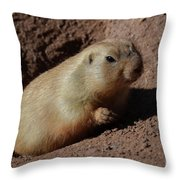 Black Tailed Prairie Dog Climbing Out Of A Hole Throw Pillow