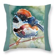 Black- Throated Tit Throw Pillow