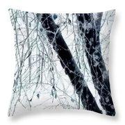Black Tree White Night Throw Pillow