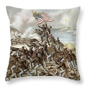 Black Troops Of The Fifty Fourth Massachusetts Regiment During The Assault Of Fort Wagner Throw Pillow